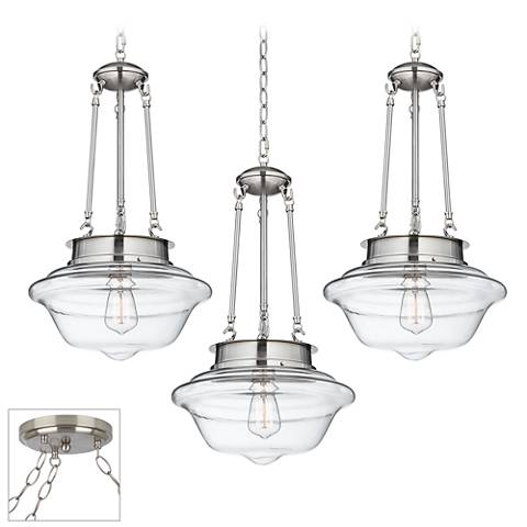 Possini Euro Schoolhouse Brushed Steel 3-Light Swag Chandelier