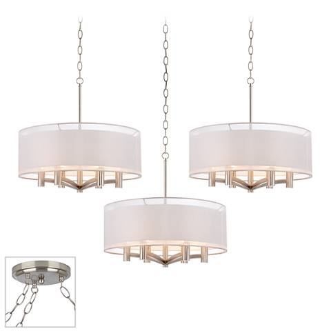 Possini Euro Caliari Brushed Steel 3-Light Swag Chandelier