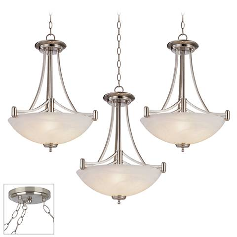 Kathy Ireland Deco Scale Brushed Steel 3-Light Swag Chandelier