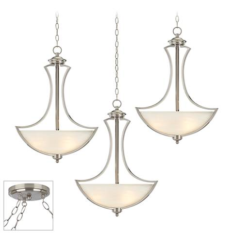 Possini Euro Milbury Brushed Steel 3-Light Swag Chandelier