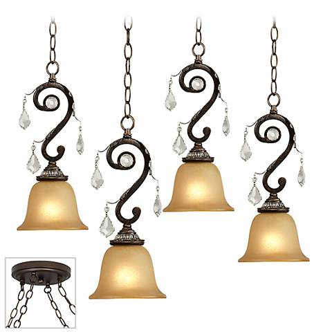 Kathy Ireland Rama de Luces Bronze 4-Light Multi Pendant