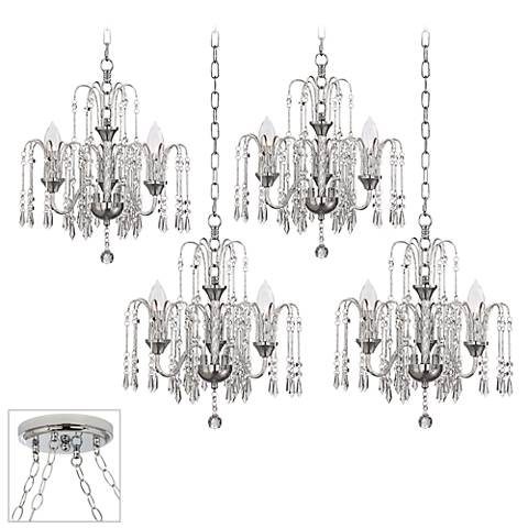 Crystal Rain Chrome 4-Light Swag Chandelier