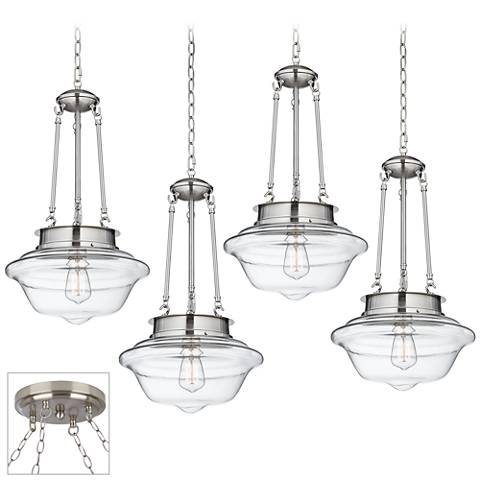 Possini Euro Schoolhouse Brushed Steel 4-Light Swag Chandelier