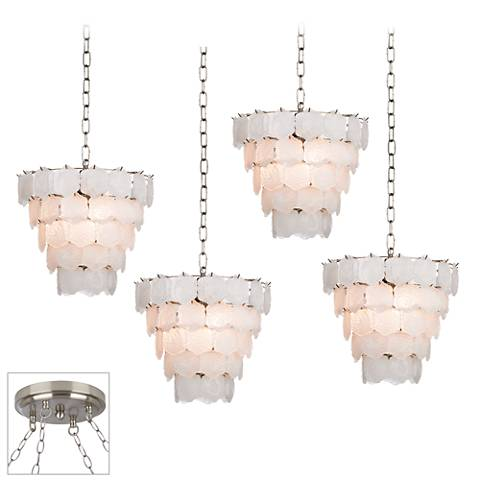 White Glass Chip Brushed Steel 4-Light Swag Chandelier