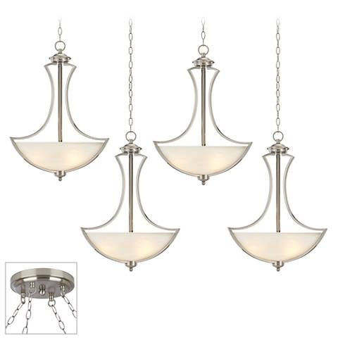 Possini Euro Milbury Brushed Steel 4-Light Swag Chandelier