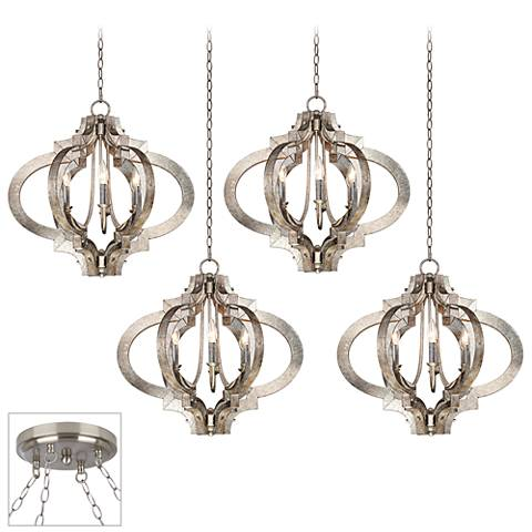 Possini Euro Ornament Brushed Steel 4-Light Swag Chandelier