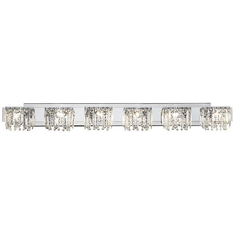 "Possini Euro Hanging Crystal 50 3/4"" Wide Chrome Bath Light"