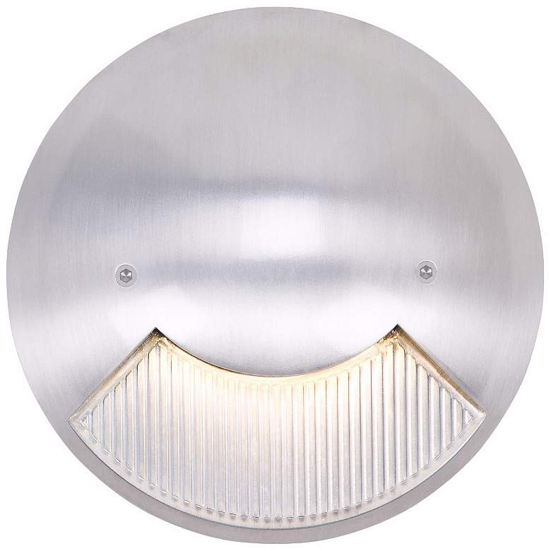 """Matte White 6"""" Wide LED Round Outdoor Step Light"""