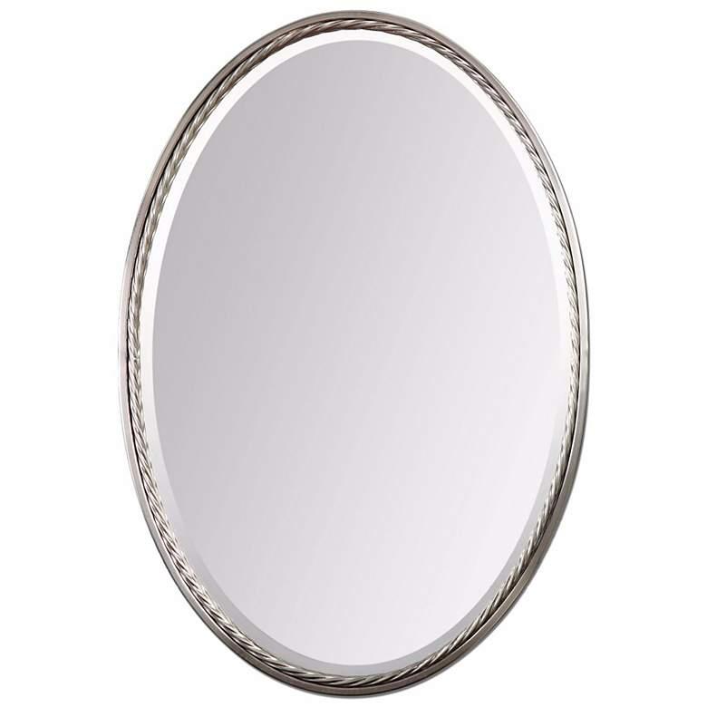 """Uttermost Casalina Nickel 22"""" x 32"""" Oval Wall Mirror"""