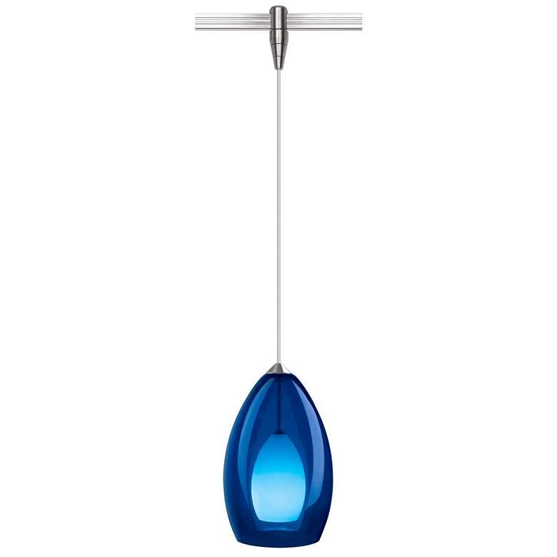 "Fire 4 1/2""W Blue Glass Nickel Monorail Mini Pendant Light"