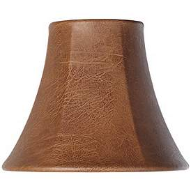 Brown Faux Leather Lamp Shade 3x6x5 Clip On