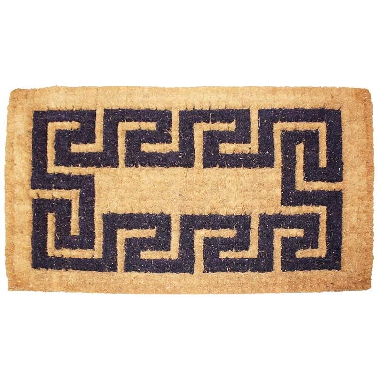 """Imperial Greek Key 2'x3'3"""" Beige Coir Door Mat"""