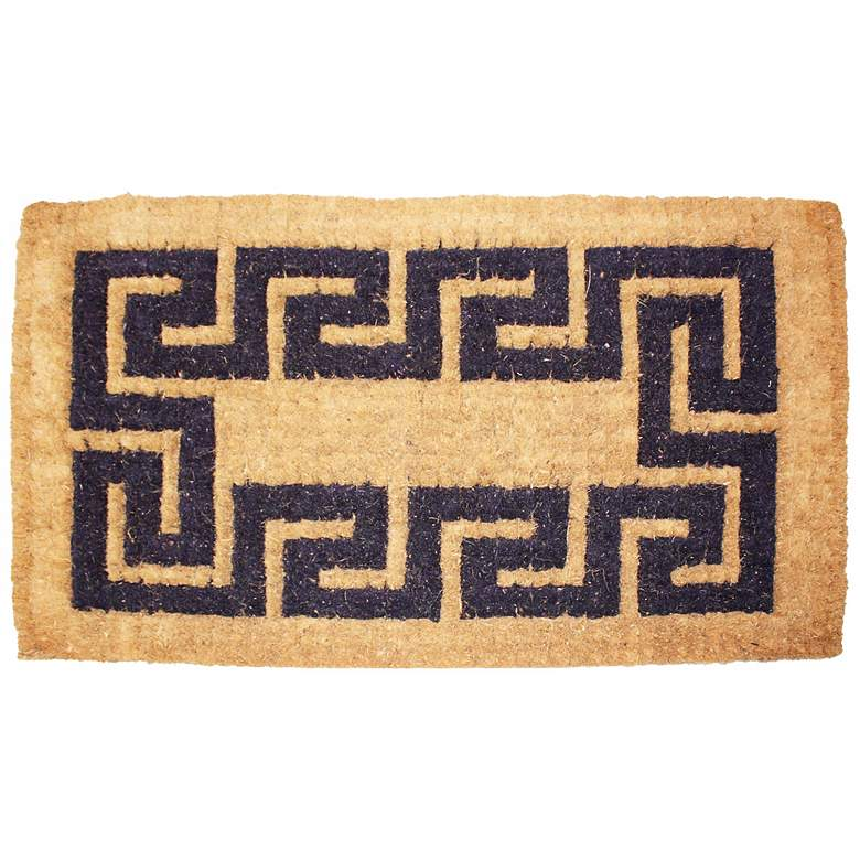 "Imperial Greek Key 2'x3'3"" Beige Coir Door Mat"