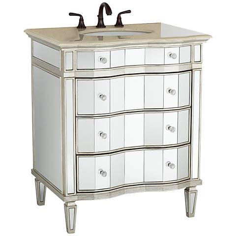 "Kaylee 30"" Wide Single Sink Mirrored Bathroom Vanity - # ..."