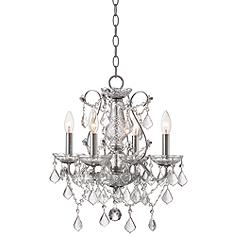 """Grace 17"""" Wide Chrome and Crystal 4-Light Chandelier"""