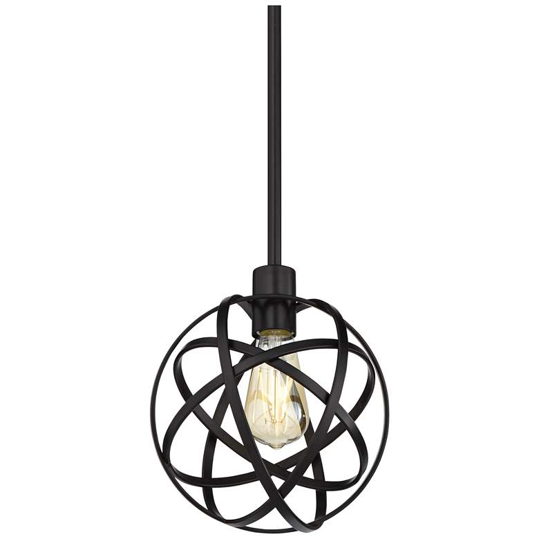 "Industrial Atom 8"" Wide LED Edison Bulb Bronze Mini-Pendant Light"