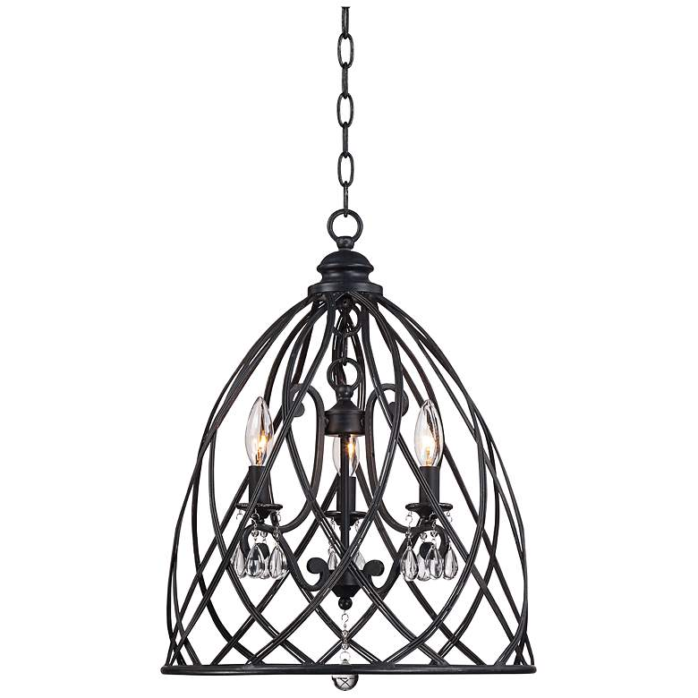 """Franklin Iron Works Bell Cage 22"""" High Metal Mini Chandelier"""