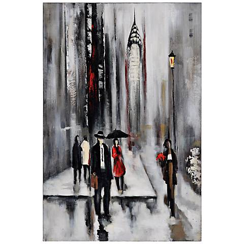 "Bustling City II 34"" Wide Hand-Painted Wall Art"