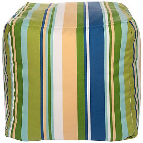 "Cool Multi-Color Stripes 18"" Square Surya Pouf Ottoman"