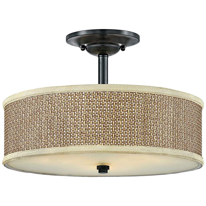"Quoizel Zen 17""W Woven Rattan and Mystic Black Ceiling Light"