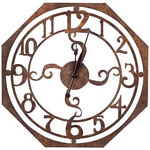 """Cooper Classics Ruhard 28"""" Rustic Bronze Wall Clock"""