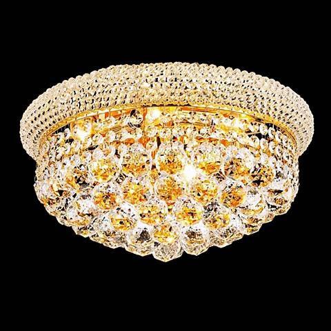 Primo 8-Light  Royal Cut Crystal and Gold Ceiling Light