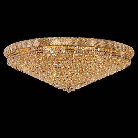 "Primo Royal Cut Crystal and Gold 48"" Wide Ceiling Light"