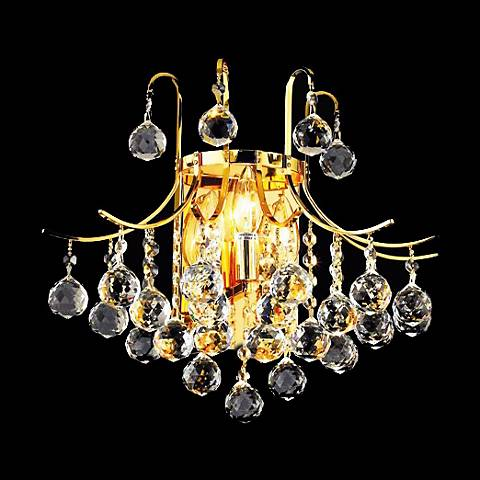 "Toureg 16"" Wide Gold and Crystal Bath Light"