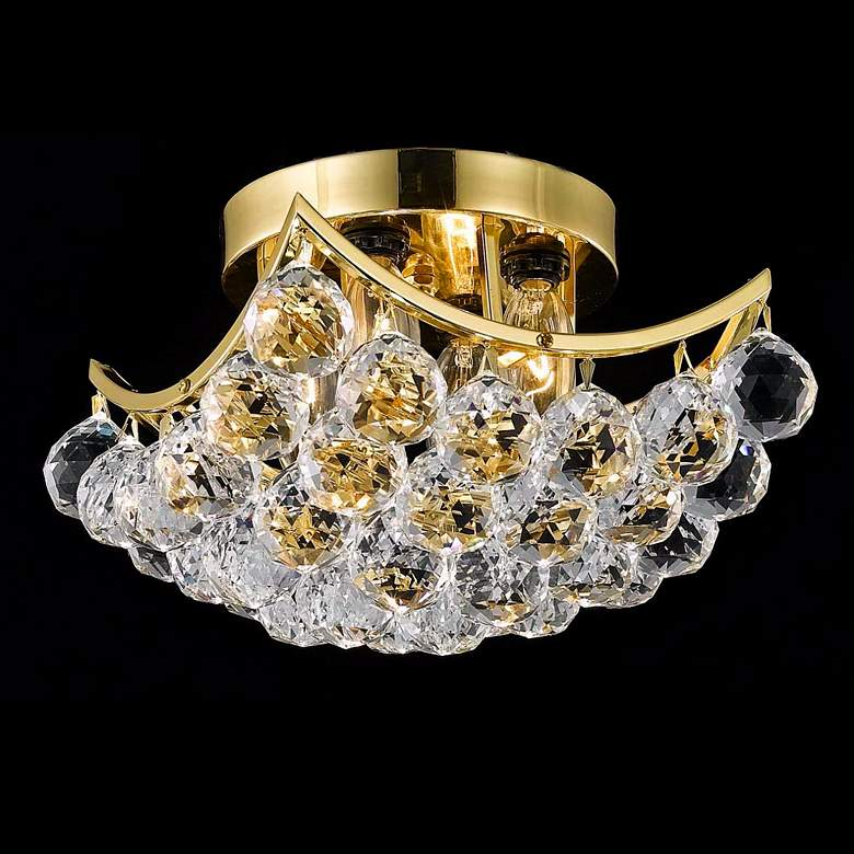 "Corona 10"" Wide Gold Crystal Ceiling Light"