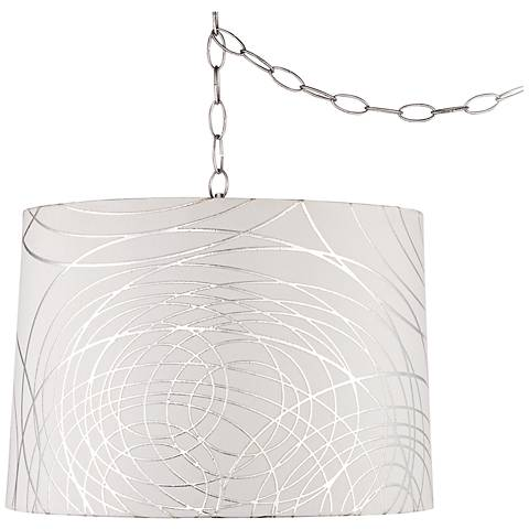 "Abstract Silver Circles 16""W Steel Plug-In Swag Chandelier"