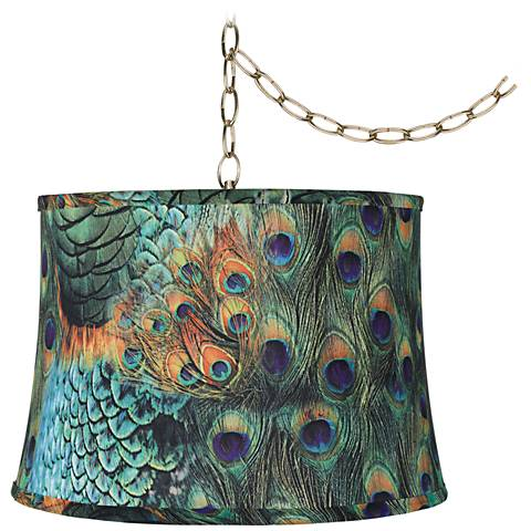 "Peacock Print 16"" Wide Antique Brass Plug-In Swag Chandelier"
