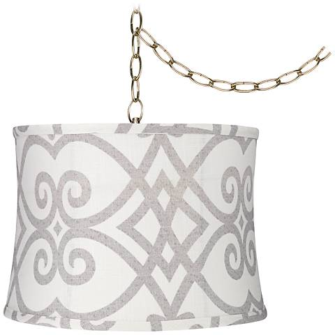 "Cream and Gray 14""W Antique Brass Plug-In Swag Chandelier"