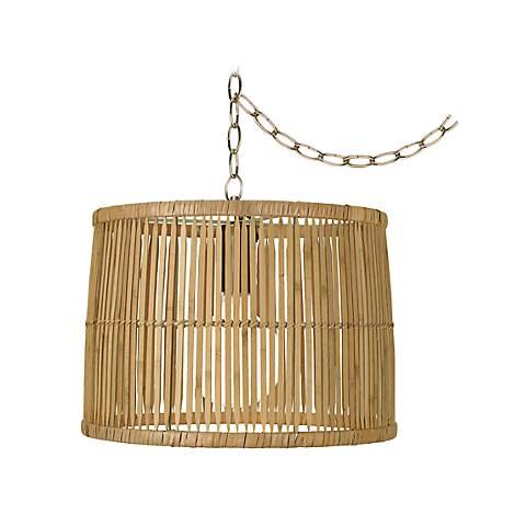 """Wooden Rattan 14 3/4"""" Wide Antique Brass Plug-In Chandelier"""