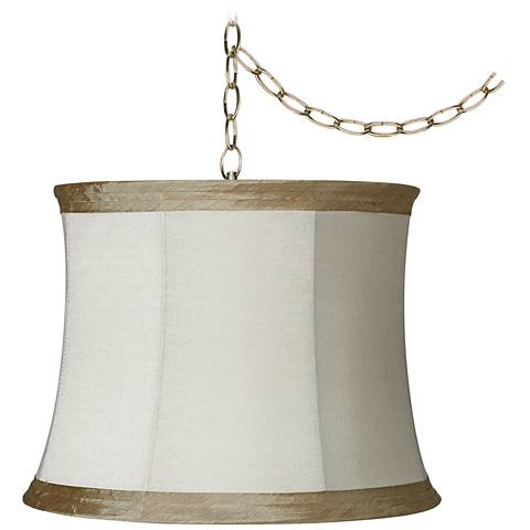 "Ivory Linen 16"" Wide Antique Brass Plug-In Swag Chandelier"