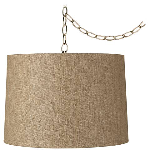 "Tan Weave 16"" Wide Antique Brass Plug-In Chandelier"