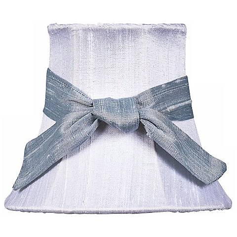 White Silk Shade with Blue Sash 3x5x4.25 (Clip-On)