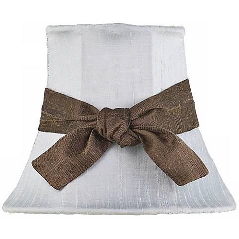 Blue Silk Shade with Brown Sash 3x5x4.25 (Clip-On)