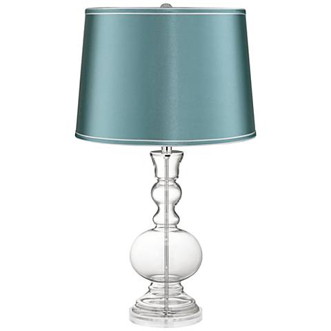 Clear Fillable Glass Teal Satin Shade Apothecary Table Lamp