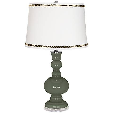 Deep Lichen Green Apothecary Table Lamp with Ric-Rac Trim