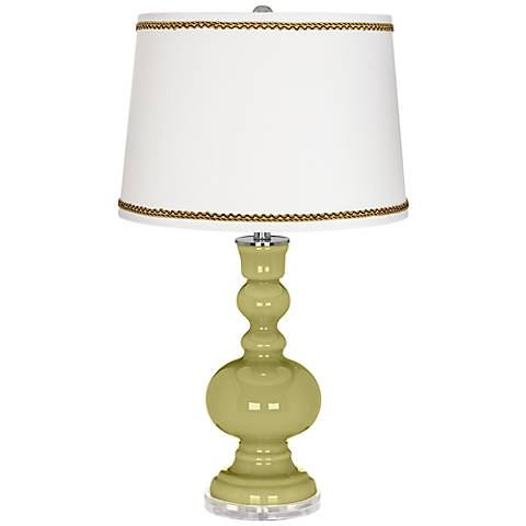 Linden Green Apothecary Table Lamp with Twist Scroll Trim