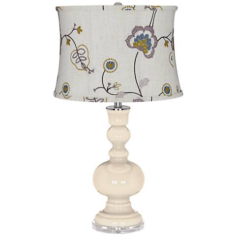 Steamed Milk Apothecary Table Lamp Gray w/ Stitched Floral Shade