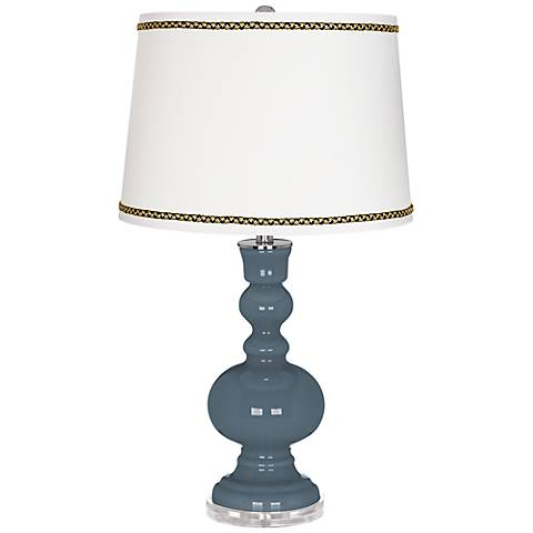 Smoky Blue Apothecary Table Lamp with Ric-Rac Trim