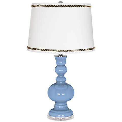 Placid Blue Apothecary Table Lamp with Ric-Rac Trim