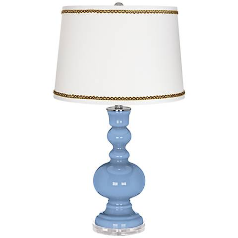 Placid Blue Apothecary Table Lamp with Twist Scroll Trim