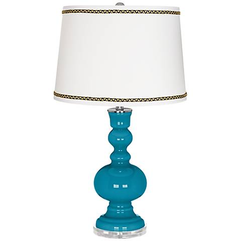 Caribbean Sea Apothecary Table Lamp with Ric-Rac Trim