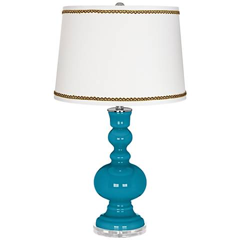 Caribbean Sea Apothecary Table Lamp with Twist Scroll Trim