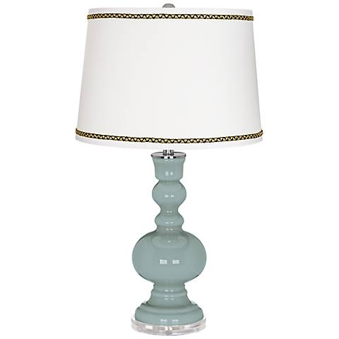 Aqua-Sphere Apothecary Table Lamp with Ric-Rac Trim
