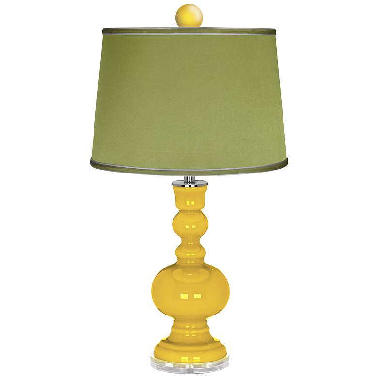 Citrus Apothecary Lamp-Finial and Satin Olive Green Shade