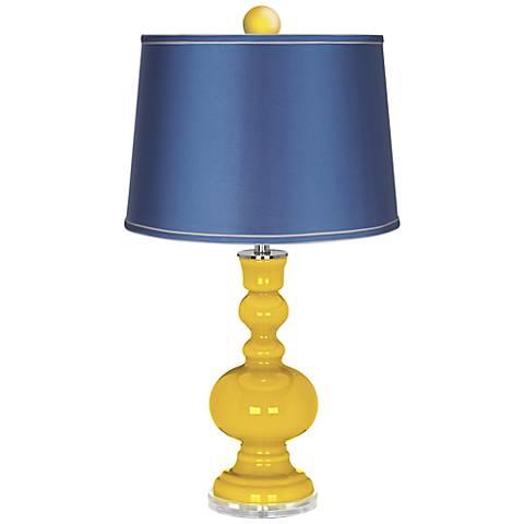 Citrus Apothecary Lamp-Finial and Satin Blue Shade