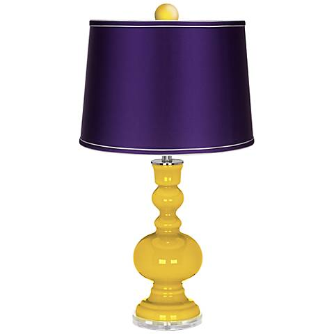 Citrus Apothecary Lamp-Finial and Satin Purple Shade